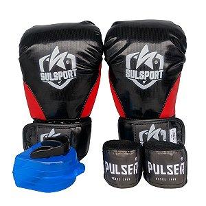 Kit Boxe Luva de Boxe / Muay Thai INFANTIL PU + Bandagem + Bucal - Preto com Vermelho - Sulsport