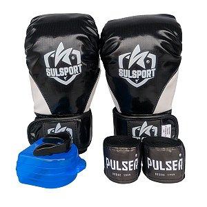 Kit Boxe Luva de Boxe / Muay Thai INFANTIL PU + Bandagem + Bucal - Preto com Branco - Sulsport