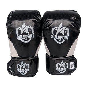 Luva de Boxe / Muay Thai INFANTIL PU - Preto com Branco - Sulsport