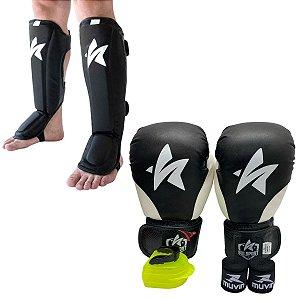 Kit Thai Luva de Boxe / Muay Thai 12oz PU + Caneleira + Bandagem + Bucal - Preto com Branco - Sulsport