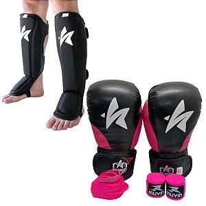 Kit Thai Luva de Boxe / Muay Thai 12oz PU + Caneleira + Bandagem + Bucal - Preto com Rosa - Sulsport