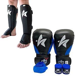 Kit Thai Luva de Boxe / Muay Thai 12oz PU + Caneleira + Bandagem + Bucal - Preto com Azul - Sulsport