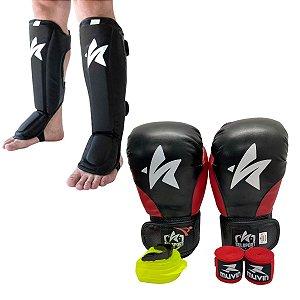 Kit Thai Luva de Boxe / Muay Thai 12oz PU + Caneleira + Bandagem + Bucal - Preto com Vermelho - Sulsport