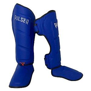 Caneleira Muay Thai MMA Kickboxing Tamanho Grande 40mm COURO LEGITIMO - Azul - Pulser