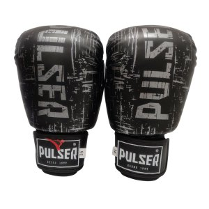 Luva de Boxe / Muay Thai 16oz PU - Preto com Prata Riscado - Pulser