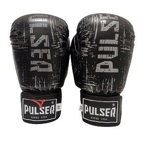 Luva de Boxe / Muay Thai 10oz PU - Preto com Prata Riscado - Pulser
