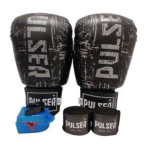Kit Boxe Luva de Boxe / Muay Thai 16oz PU + Bandagem + Bucal - Preto com Prata Riscado - Pulser