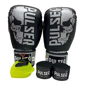 Kit Boxe Luva de Boxe / Muay Thai 14oz PU + Bandagem + Bucal - Preto com Prata Caveira - Pulser