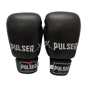 Luva de Boxe / Muay Thai 14oz Couro Legitimo - Preto com Branco Bordado - Pulser