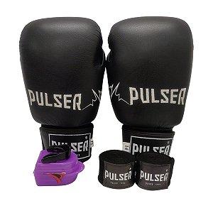 Kit Boxe Luva de Boxe / Muay Thai 14oz Couro Legitimo + Bandagem + Bucal - Preto com Branco Bordado - Pulser