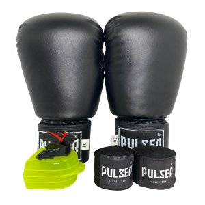 Kit Boxe Luva de Boxe / Muay Thai 16oz PU + Bandagem + Bucal - Preto - Pulser
