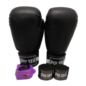 Kit Boxe Luva de Boxe / Muay Thai 14oz PU + Bandagem + Bucal - Preto - Pulser