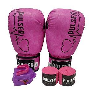 Kit Boxe Luva de Boxe / Muay Thai 12oz PU + Bandagem + Bucal - Rosa com Preto Coração - Pulser