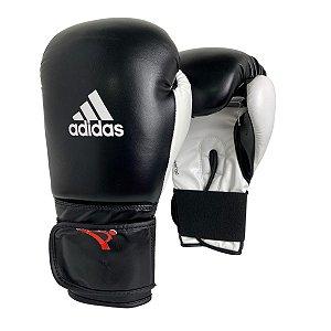 Luva de Boxe / Muay Thai 14oz Power 100 - Preto com Branco - Adidas