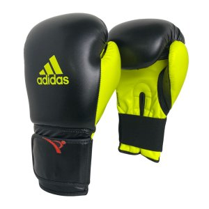Luva de Boxe / Muay Thai 14oz Power 100 - Preto com Amarelo - Adidas