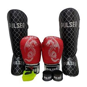 Kit Thai Luva de Boxe / Muay Thai 12oz PU + Caneleira 20mm + Bandagem + Bucal - Vermelho com Prata Dragão - Pulser