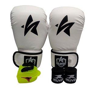 Kit Boxe Luva de Boxe / Muay Thai 12oz PU + Bandagem + Bucal - Branco - Sulsport
