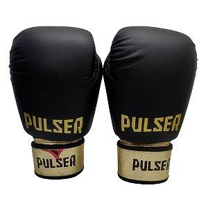 Luva de Boxe / Muay Thai 12oz Couro Legitimo - Preto com Dourado Profissional - Pulser
