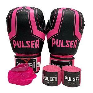 Kit Boxe Luva de Boxe / Muay Thai 10oz PU + Bandagem + Bucal - Preto com Rosa Iron - Pulser