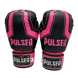 Luva de Boxe / Muay Thai Feminina 10oz PU - Preto com Rosa Iron - Pulser