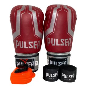 Kit Boxe Luva de Boxe / Muay Thai 14oz PU + Bandagem + Bucal - Vermelho com Prata Iron - Pulser