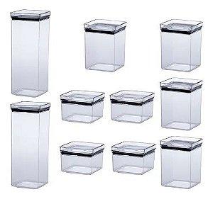 Kit 10 Potes Herméticos - Quadrados - 4 P / 4 M e 2 G