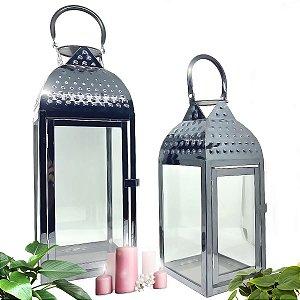 Kit Conjunto Lanterna Marroquina Luminária Decorativa Metal Luxo Piso e Chão