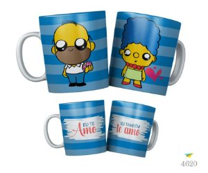 Kit Canecas Homer e Marge Simpsons