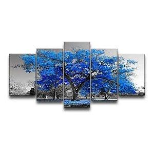 Quadro Decorativo 129x63 Árvore Azul