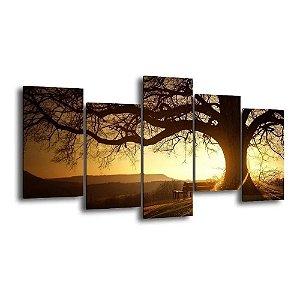Quadro Decorativo 129x63 Árvore Sol Paisagem