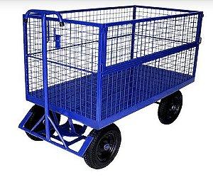 Carro Plataforma Lastro em Chapa com Fechamento em tela