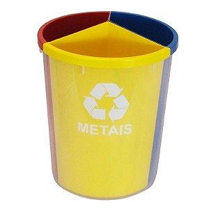 Lixeira Mix Plástica com 3 Divisões para Coleta Seletiva