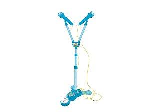 Microfone Duplo Infantil Azul Com Pedestal Menino