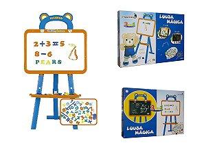 Lousa Mágica Infantil 3 em 1 Magnética Letrinhas Giz Caneta