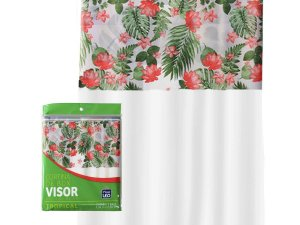 Cortina Box Banheiro 1,35x2,00 C/ Visor e Ganchos - Tropical