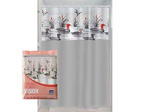Cortina Box Banheiro 1,35x2,00 C/ Visor e Ganchos - Patos