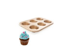 Forma de Cupcake Antiaderente Metal 6 Cavidades 26,5x18,5 cm