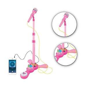 Microfone Infantil Com Pedestal E Amplificador Luzes Karaokê