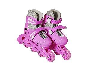 Patins Infantil Menina Inline Ajustável + Kit de Proteção