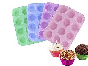 Forma de Silicone P/ Muffin Cupcake 12 Cavidades 29x21,7cm