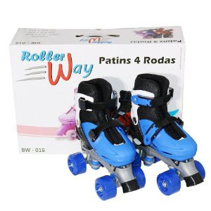 Patins Quad 4 Rodas Azul com ajuste de Tamanho