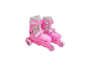 Patins Infantil Menina 3 Rodas Ajustável Inline Triline Rosa