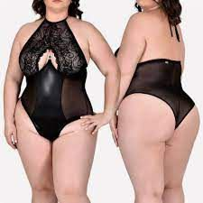 Body Halter Neck Plus Size em Renda, Tule e Lycra - Dinamite - Preto Único - 48 e 50