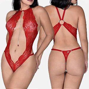 Body em Renda de Luxo com Regulagem - Perfeito - Vermelho Único