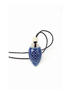 Colar Aromático Nó Infinito Azul Cerâmica