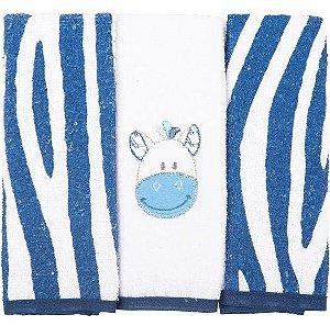 Toalha Boquinha Bichinhos Zebra Azul Marinho 3 unidades - Bambi
