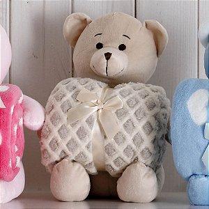 Kit Manta com Bichinho de Pelúcia Urso Bege Bouton Baby