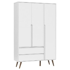 Guarda Roupa Infantil 3 Portas Retro Clean Branco Acetinado Eco Wood - Matic