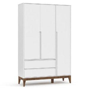Guarda Roupa Infantil Nature Clean 3 Portas Branco Acetinado Eco Wood - Matic
