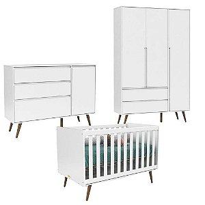 Quarto de Bebê 3 Portas Comoda com Porta Retro Clean Branco Acetinado Eco Wood - Matic
